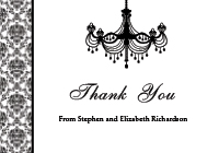 Vintage Chandelier Thank You Card - Black