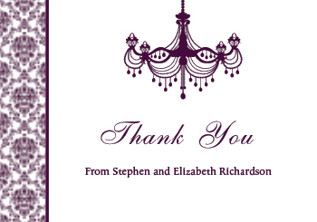 Vintage Chandelier Thank You Card - Plum