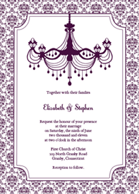 Vintage wedding invitation kit plum chandelier printable