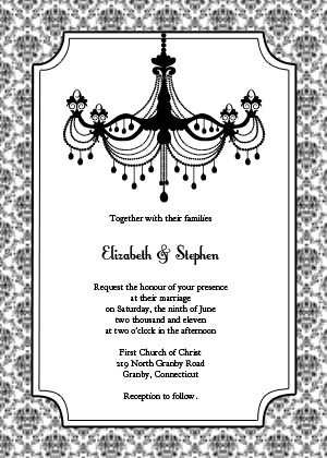 Vintage Chandelier Invitation Black