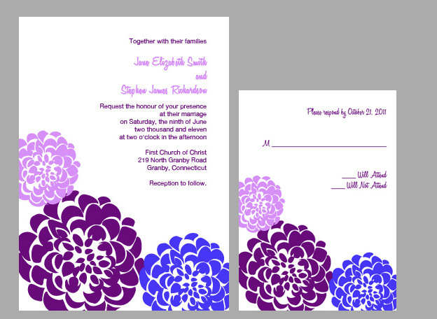 Chrysanthemum Invitation Kit - Lavender and Plum