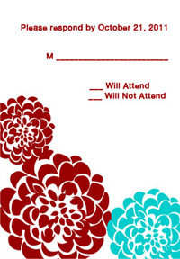 Chrysanthemum Red & Aqua RSVP