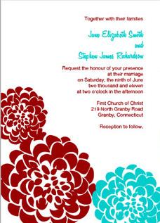 Chrysanthemum Invitation - Red & Aqua