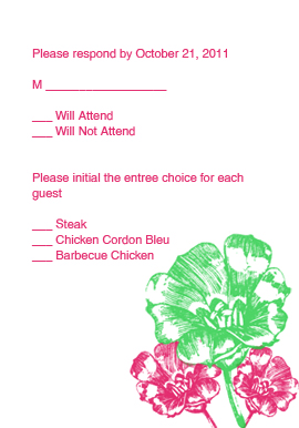 Pink and Clover Flowers RSVP Card