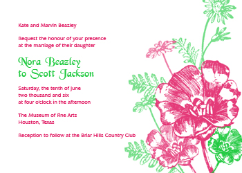 Pink and Clover Flowers Wedding Invitation
