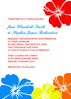 Hibiscus Flowers Invitation - Solid Colors