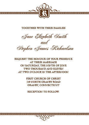 Classic Monogram Invitation Design - Brown