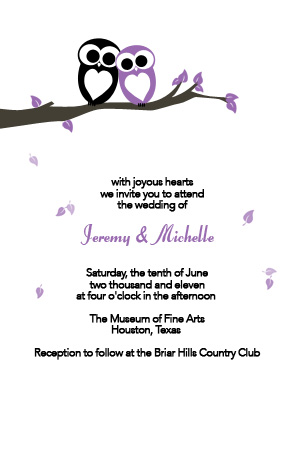 Love Owls Invitation in Black and Purple - 4x6
