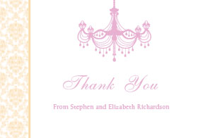 Vintage Chandelier Thank You Card - Champagne