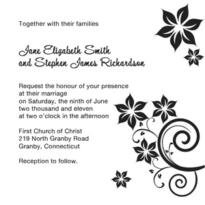 Floral Swirls in Black - 5x5 Invitation