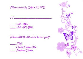 Butterflies - Lavender & Purple - RSVP