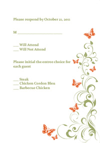 Butterflies and Vines - RSVP Template