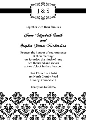 Damask Vintage Invitation - Black