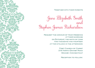Damask border invitation and rsvp set wedding invitation damask border invitation stopboris Gallery