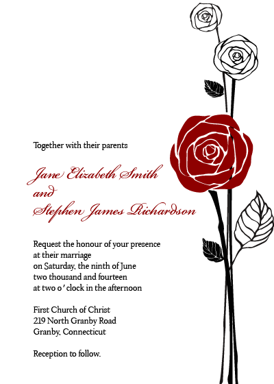 Formal Roses Wedding Invitation