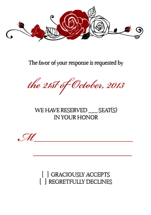 Formal Roses Wedding RSVP Cards