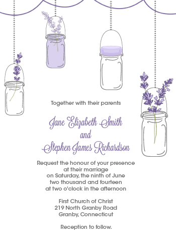 Mason Jar and Lavender Invitation