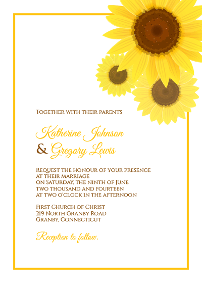Sunflower Wedding Invitation + RSVP Templates